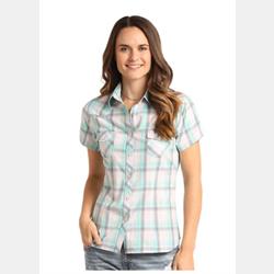 Panhandle Women's Short Sleeve White Teal Shirt