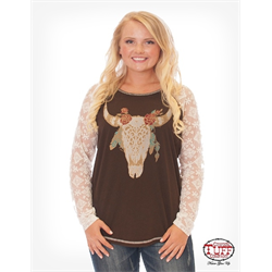 Cowgirl Tuff Chocolate Longhorn Print Lace T-Shirt