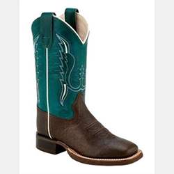 Old West Youth Size Turquoise Brown Cowboy Boots