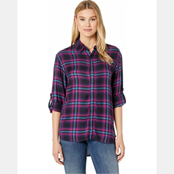 Rock N Roll Cowgirl Black Blue Pink Plaid Shirt
