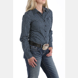 WW/SHIRT/CINCH/MSW9164111-M/LDS/L/S NAVY PRINT
