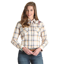 Wrangler Ladies Western Fashion Ivory Yellow Blue Plaid Snap Front Shirt
