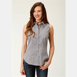 Roper Ladies Short Sleeve Grey White Snap Front Shirt