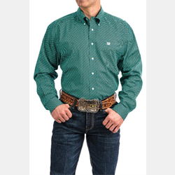 Cinch Men's Button Down Turquoise White Print Western Shirt
