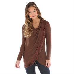 Western Asymmetrical Sweater Top Brown