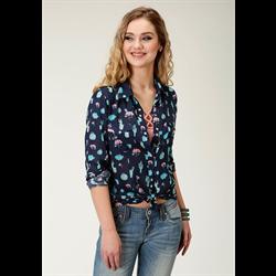 Roper Women's Cactus Print Western Snap Shirt