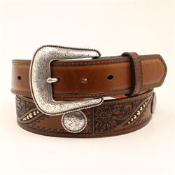 Nocona Men's Floral Concho Brown Belt