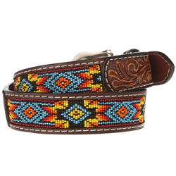 Twisted X Red Beaded Floral Billet Leather Belt