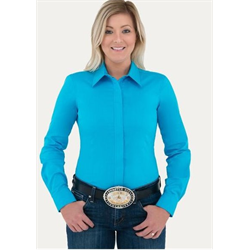Noble Outfitters Women's Perfect Fit Western Show Shirt Crystal Blue