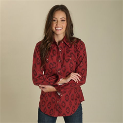 Wrangler Women's Red Aztec Print Boyfriend Top