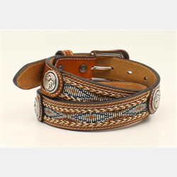 Ariat Youth Brown Leather Ribbon Inlay With Conchos Belt