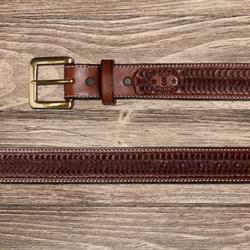 Texas Saddlery Mens Chocolate Swirl Tooled Leather Western Belt
