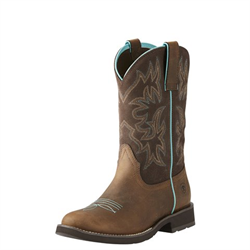 WW/BOOTS/ARIAT/10021457-6.5B/LDS/DELILAH ROUND TOE DISTRESSED BROWN AND TURQ