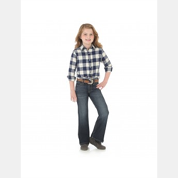 Girl's Western Plaid Flannel Top Black/White