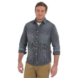 Wrangler Retro Long Sleeve Grey Pin Stripe Shirt