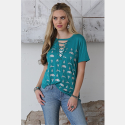 Cruel Girl Teal Lattice Front T Shirt