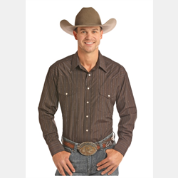 Panhandle Men's Dark Brown Snap Front Western Shirt