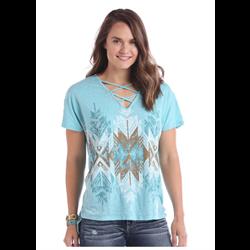 Panhandle Ladies Short Sleeve Turquoise Aztec Print Shirt