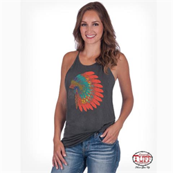 Cowgirl Tuff Ladies Grey Serape Bronc Tank Top