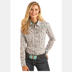 Rock N Roll Cowgirl Black Grey Floral Print Snap Front Shirt