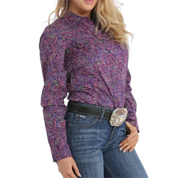 Cinch Women's Western Shirt Purple Paisley