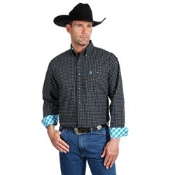 Wrangler George Strait Long Sleeve Black Grey Print Shirt