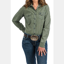 Cinch Ladies Navy Green Geo Print Western Shirt