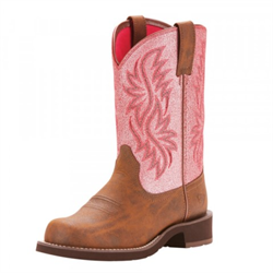 Ariat Women's Fatbaby Heritage Pink Crackle Boot