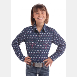 Panhandle Girls Navy with Horses Snap Western Shirt