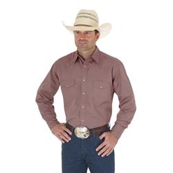 Wrangler Men's Sport Dobby Stripe Tan Western Shirt