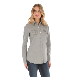 Wrangler Western Fashion Top Grey Denim