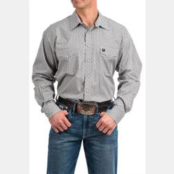 Cinch Men's Grey Geometric Print Snap Western Shirt