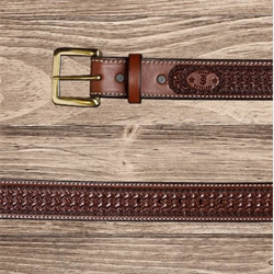 Texas Saddlery Mens Chocolate Spider Tooled Leather Western Belt