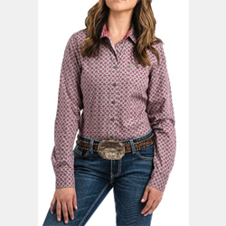 Cinch Ladies Sage and Sangria Geo Print Western Shirt