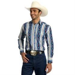 Wrangler Checotah Blue Pattern Western Shirt