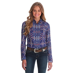 Wrangler Women's Aztec Print Top Navy/Peach
