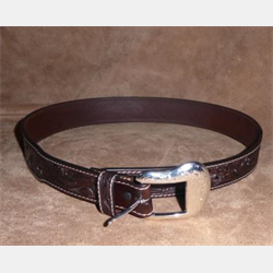 Ranger Mens Tapered Leather Tooled Acron Brown Belt
