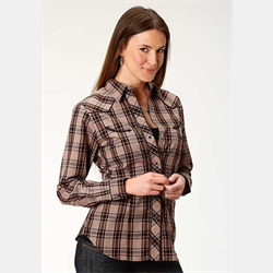 Roper Ladies Black Rust Plaid Western Shirt