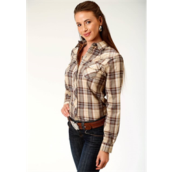 Roper Ladies Brown Tan Plaid Western Shirt