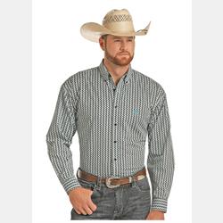 Panhandle Slim Turquoise Black White Print Western Shirt