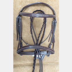 ENG/BRIDLE/NOBLE/BE/1510-EM-CS/FANCY PADDED BRIDLE WITH REINS MAHOGANY COB