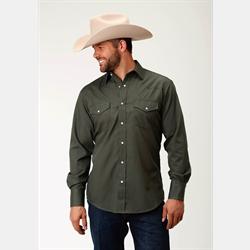 Roper Men's Long Sleeve Snap Front Olive Shirt