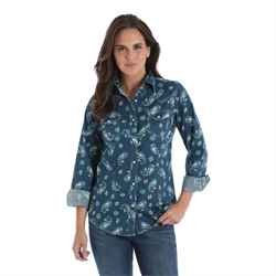 Wrangler Ladies Blue Turquoise Long Sleeve Snap Shirt