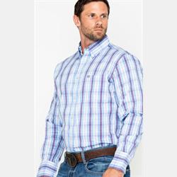 Wrangler Men's 20X Performance Purple Plaid Western Shirt