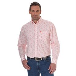 George Strait Long Sleeve Shirt Orange Paisley