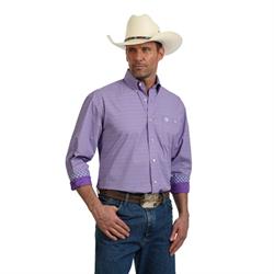 Wrangler Men's George Strait Long Sleeve Purple Print Western Shirt