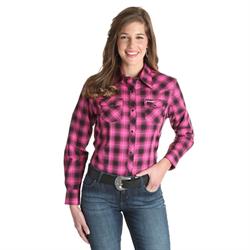 Wrangler Ladies Tough Enough To Wear Pink Plaid Western Shirt
