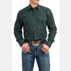 Cinch Men's Black Turquoise Geometric Print Western Shirt