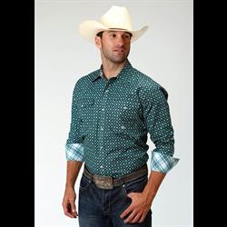 Roper Men's Slate Green Geo Print Long Sleeve Western Shirt