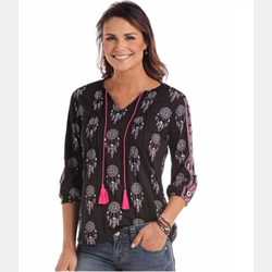 Panhandle Ladies Black Dreamcatchers Blouse